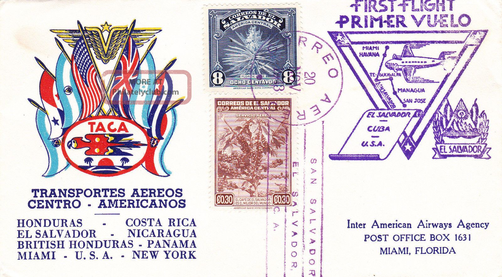 El Salvador : Inter American Airways First Flight Cover To Miami,  Usa (1943) Latin America photo
