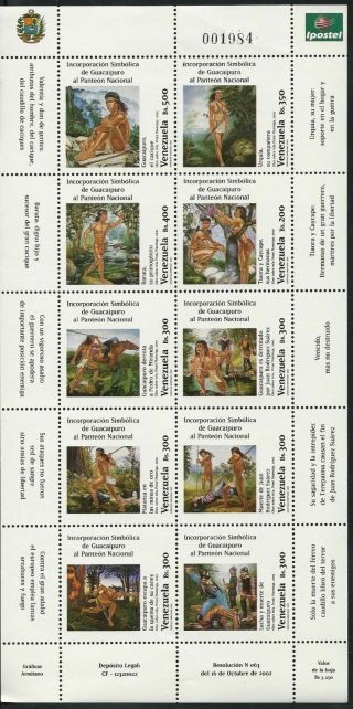 Venezuela 2002 Guaicaipuro Indian National Pantheon - Sheet 10 photo