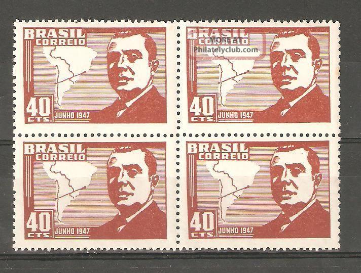 Brazil 1947,  Pres.  Gonzales Videla Of Chile,  Sc 671,  Og Latin America photo