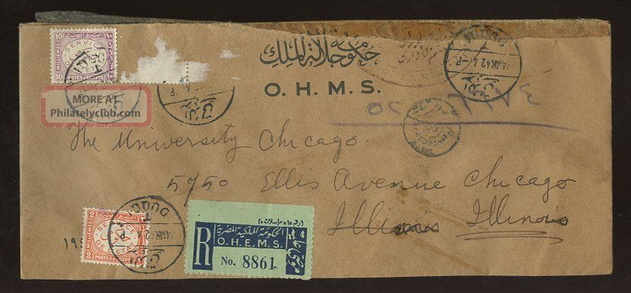 Egypt Official Registered Duqqi Ohms To Usa + Censor 1942 Middle East photo