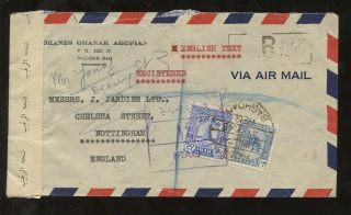 Iraq 1946 Registered Censored Airmail Agopian Env To Nottingham Baghdad Tape +hs photo