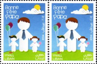 Father ' S Day Stamp 2014 Blk Of 2 Lebanon Liban photo