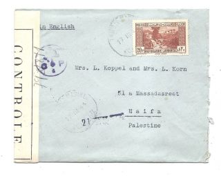 Lebanon 1944 Cover+letter English Censor To Haifa Palestine photo