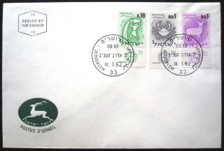 1961 Israel Stamp Tab Event Cover Zodiac Fdc First Day Issue Postal Jerusalem photo