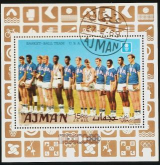 Uae Ajman: 1969 Airmail - Olympics Mexico Usa Basketball Souvenir Sheet Cto photo