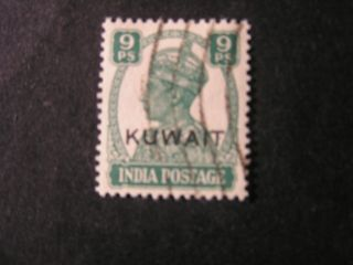 Kuwait,  Scott 61,  9 Pils 1945 Kgv1 Of India Overprinted