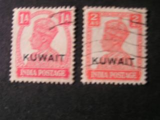 Kuwait,  Scott 62+64 (2),  1945 Kgv1 Of India Overprinted