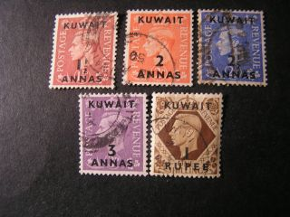 Kuwait,  Scott 74 - 77 (4) +79,  Total 5 Kgv1 Overprinted