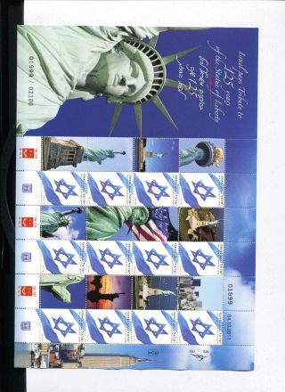 My Stamp Generic Sheet Israel Pays Tribute,  125 Years Of The State Of Liberty photo