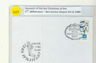 Il - 7403 Fdc Souvenir Of Last Christmas Of 2nd Millennium Bengurion Airport 24.  12 photo