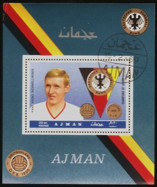 Uae Ajman: 1969 German Soccer (20 Dh - Schnellinger) Souvenir Sheet (cto) photo