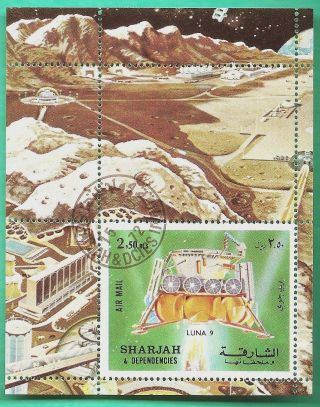 Sharjah: Michel 114a - 1972 Luna 9 Space Craft (2.  50r Souvenir Sheet) (cto) photo