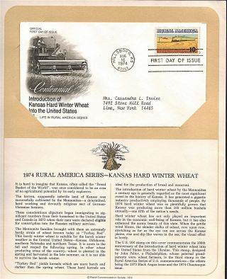 Kansas Hard Winter Wheat Fdc Cachet,  Issued 1974,  Collectible,  Scott 1506 F26 photo