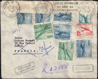 2650 Chile To France Registered Air Cover 1961 Revised For The Customs Returned photo