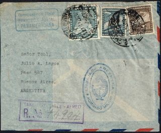 2611 Chile To Argentina Reg.  Diplomatic Air Cover 1941 Franquicia Panamericana photo