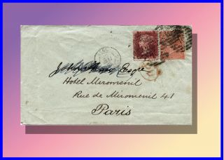 1865 Victorian 1 & 4 Penny Cover From London To Paris On May 19th photo