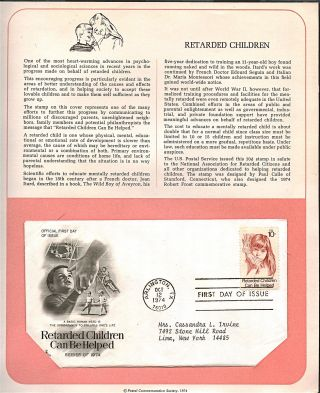Retarded Children Helped Fdc Cachet,  Issued 1974,  Collectible,  Scott 1549 F28 photo