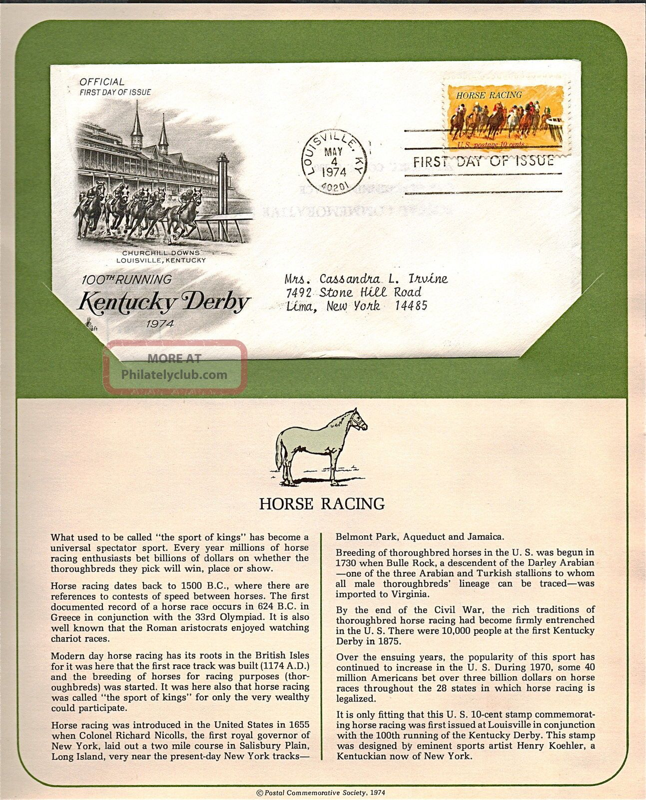 Kentucky Derby 100th Running Fdc Cachet,  Issued 1974,  Collectible,  Scott 1528 F29 Worldwide photo