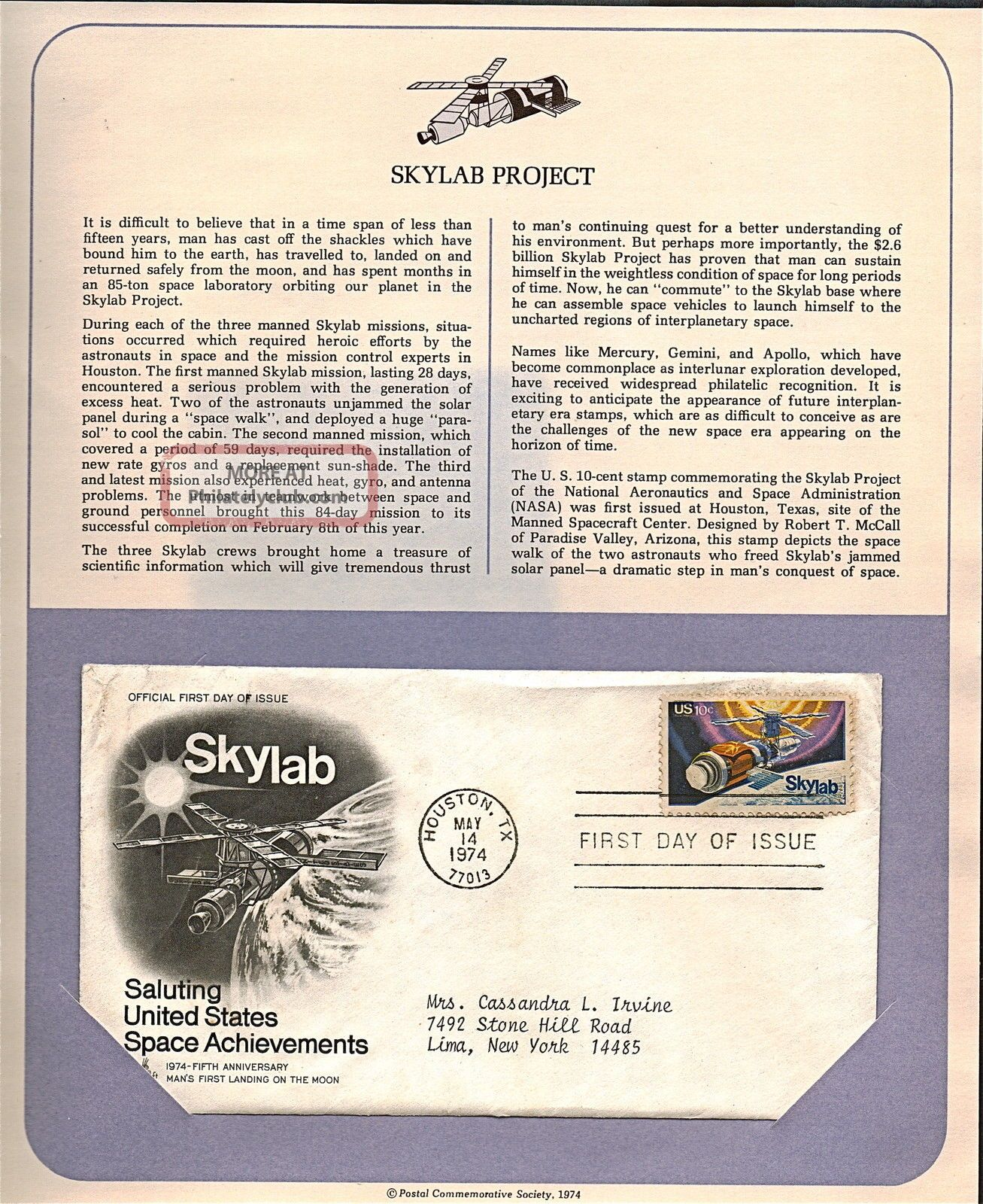 Skylab Space Achievements Fdc Cachet,  Issued 1974,  Collectible,  Scott 1529 F30 Worldwide photo