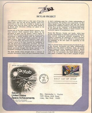 Skylab Space Achievements Fdc Cachet,  Issued 1974,  Collectible,  Scott 1529 F30 photo