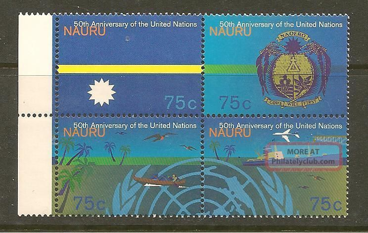 Nauru 415 - 18 1995 Blk Of 4 United Nations 50th Anniversary British Colonies & Territories photo