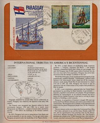 Paraguay Tribute To America ' S Bicentennial 1975 First Day Issue Fdc