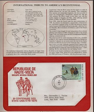 Haute - Volta Tribute To America ' S Bicentennial 1975 First Day Issue Fdc
