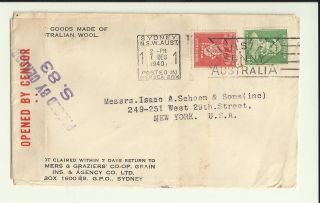 Wwii Censored Cover 7 Dec 1940 Sydney Nsw Australia York / Australian Wool photo