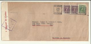 Wwii Censored Cover 5 Nov 1943 Melbourne Australia York Usa photo