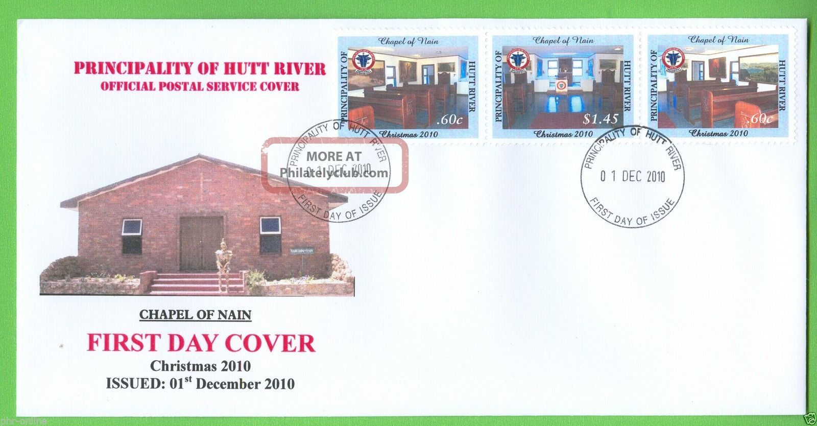 Principality Of Hutt River 2010 Christmas Fdc Se - Tenant Strip Of 3 Worldwide photo