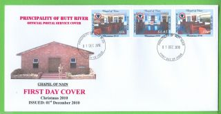 Principality Of Hutt River 2010 Christmas Fdc Se - Tenant Strip Of 3 photo