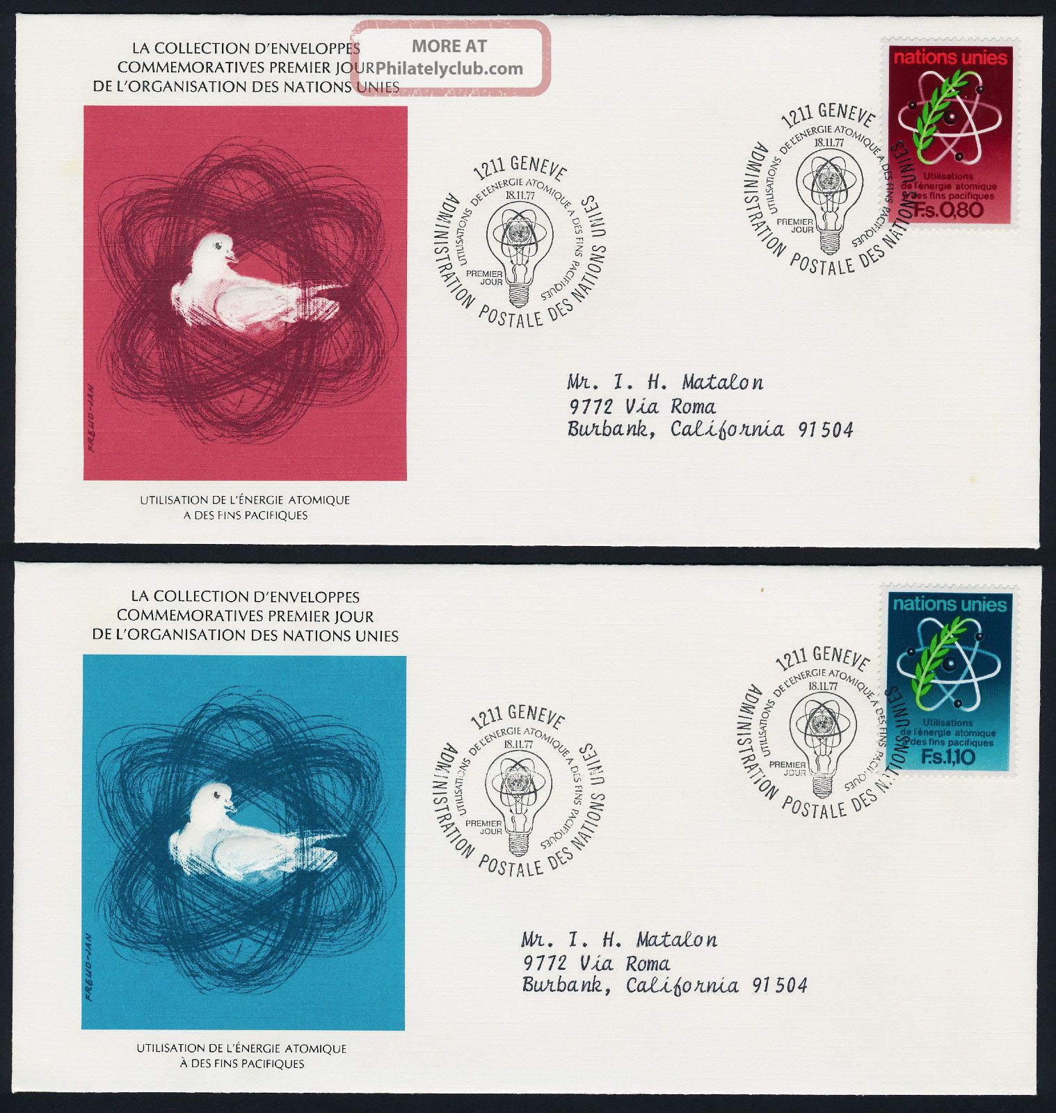 United Nations Geneva 71 - 2 On Fdc ' S - Atomic Energy Worldwide photo