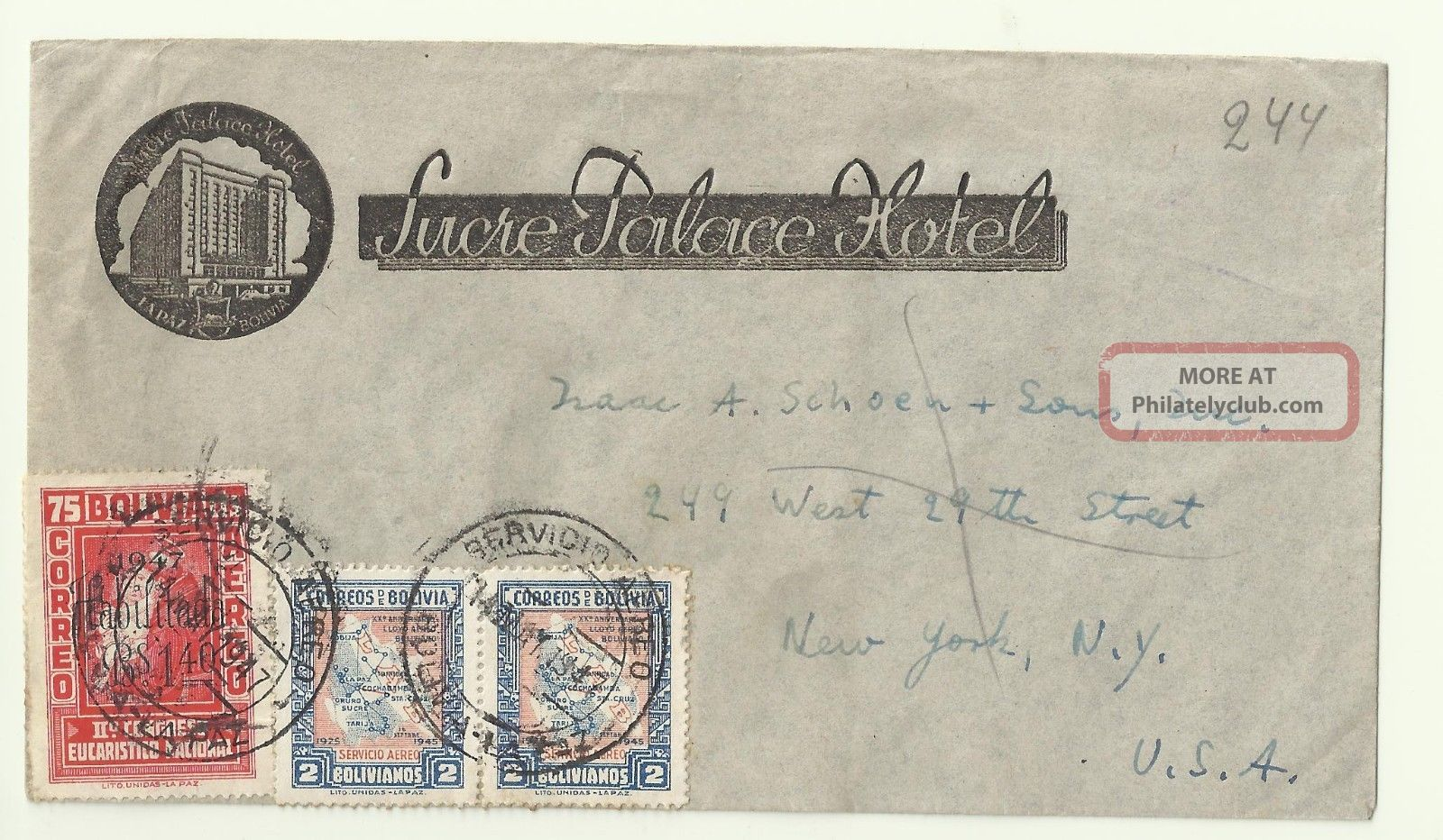 1947 La Paz Sucre Palace Hotel Bolivia Postal Cover Correo Air Mail To York Worldwide photo