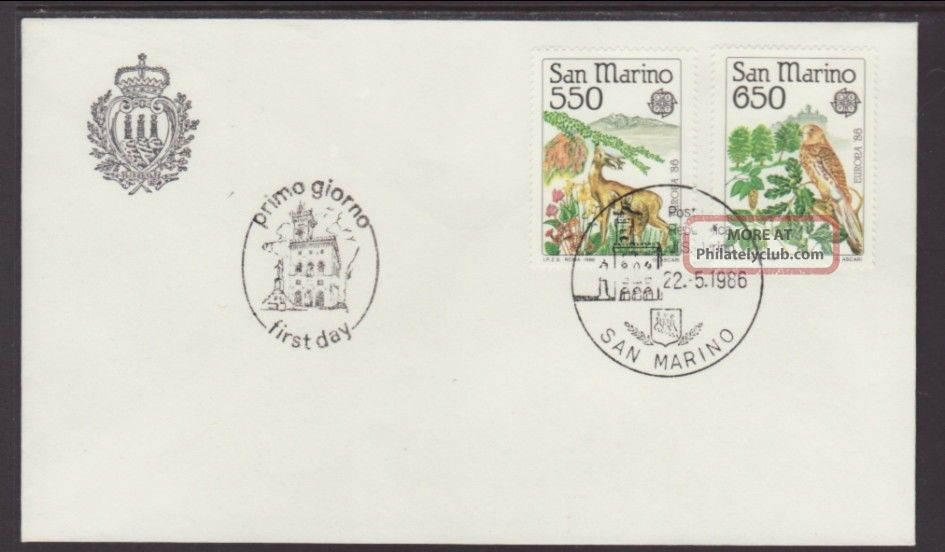 San Marino 1107 - 1108 Europa 1986 Unaddressed Fdc T279 Worldwide photo