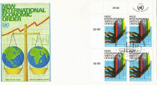 United Nations 1980 International Economic Order Blk4 First Day Cover Vienna Shs photo