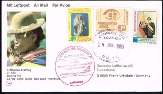 2304 Ecuador To Germany Ffc Card 1985 Lufthansa B - 747 Quito - Frankfurt photo