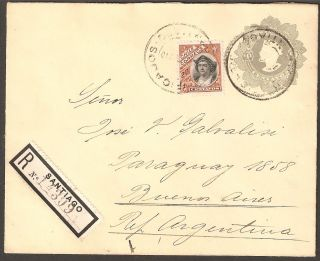 1335 Chile To Argentina Ps Cover 1910 Columbus Santiago,  Buenos Aires Cinderella photo