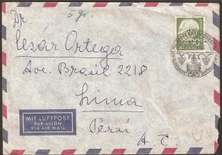 1323 Germany To Peru Air Mail Cover 1956 Special Cancel Heppenheim photo