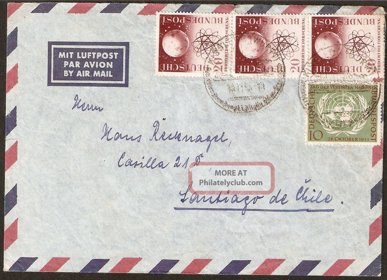 1318 Germany To Chile Air Mail Cover 1955 Special Cancel Kisslegg Worldwide photo