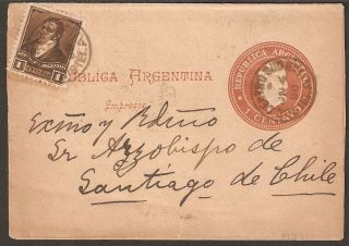 1328 Argentina To Chile Ps Wrapper 1898 Buenos Aires - Santiago photo