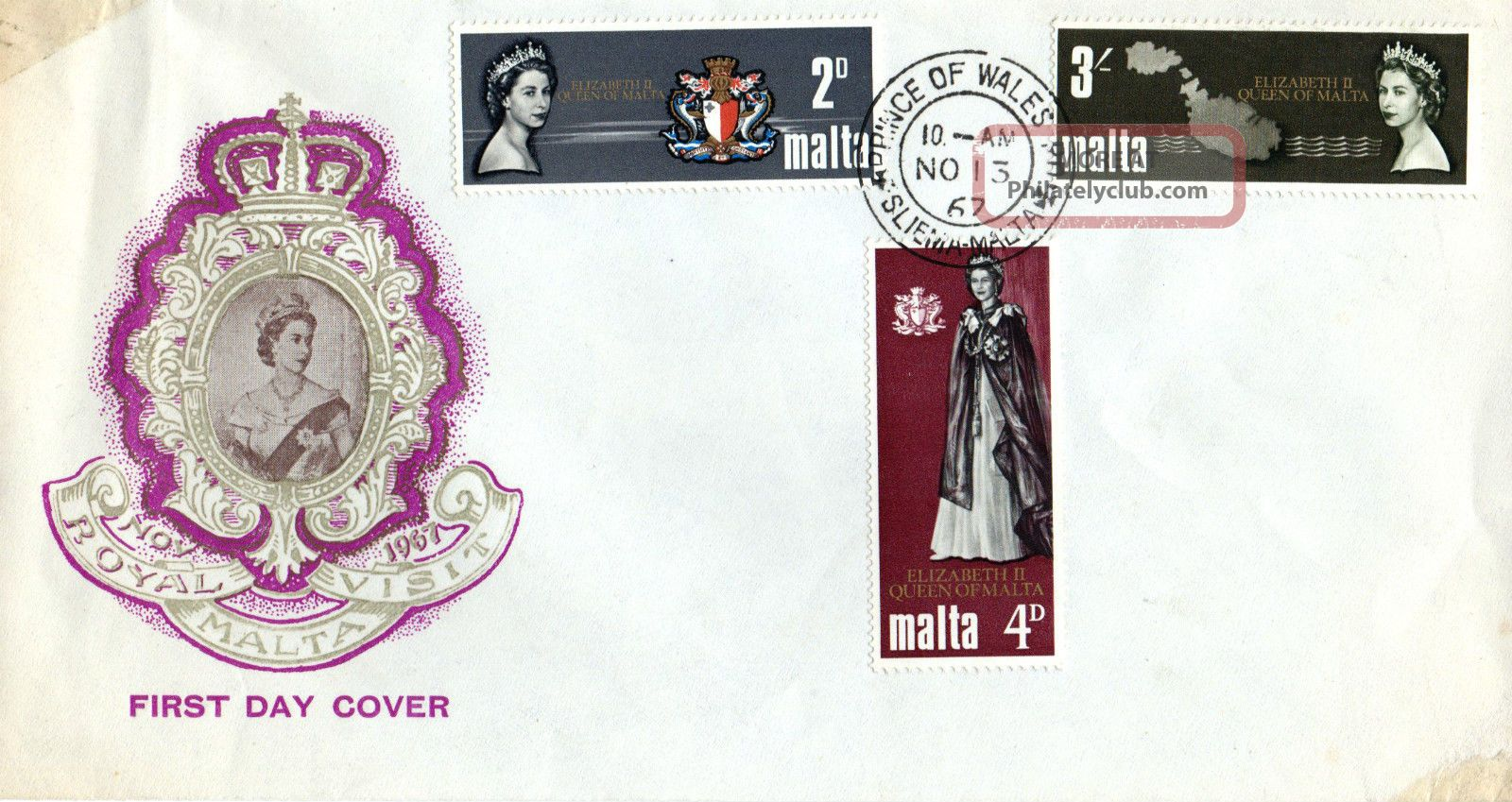 Malta 13 November 1967 Royal Visit Unaddressed First Day Cover Cds Europe photo