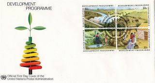 United Nations 1986 Development Programme Block 4 First Day Cover York Shs photo