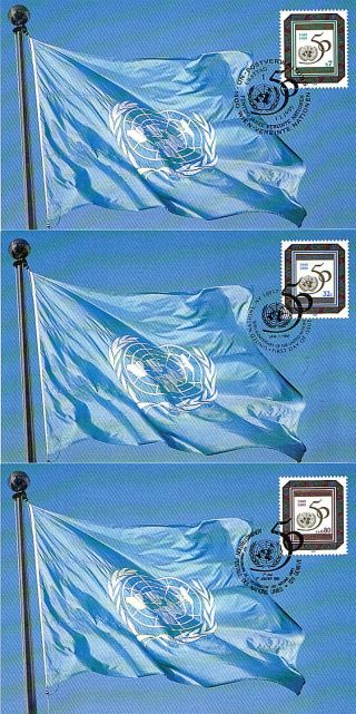 United Nations 1995 Un 50th Anniversary On 3 First Day Postcards Appropriate Shs photo