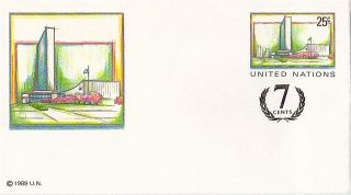 United Nations 1995 25c + 7c Pre Paid Envelope Small / York photo