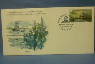 Guernsey 1980 First Day Cover Boats At Sea 1850 Art Christmas 13 1/2 P Stamp Shi photo