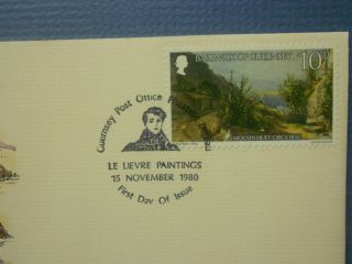 Guernsey 1980 First Day Cover Moulin Huet Christmas Art Stamp Trees,  Mountains photo