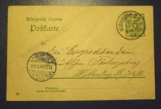 1906 Germany 5 Pfennig Postcard Postmarked 11 Dec 1906 Nurnberg photo