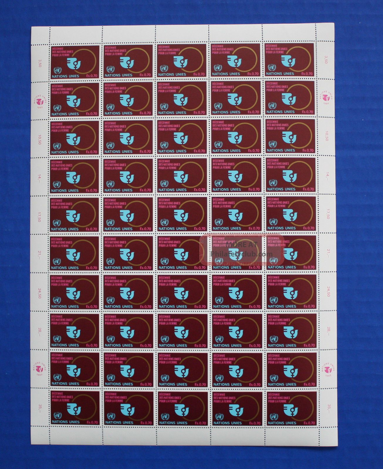 United Nations (g91) 1980 Decade For Women Sheet Worldwide photo