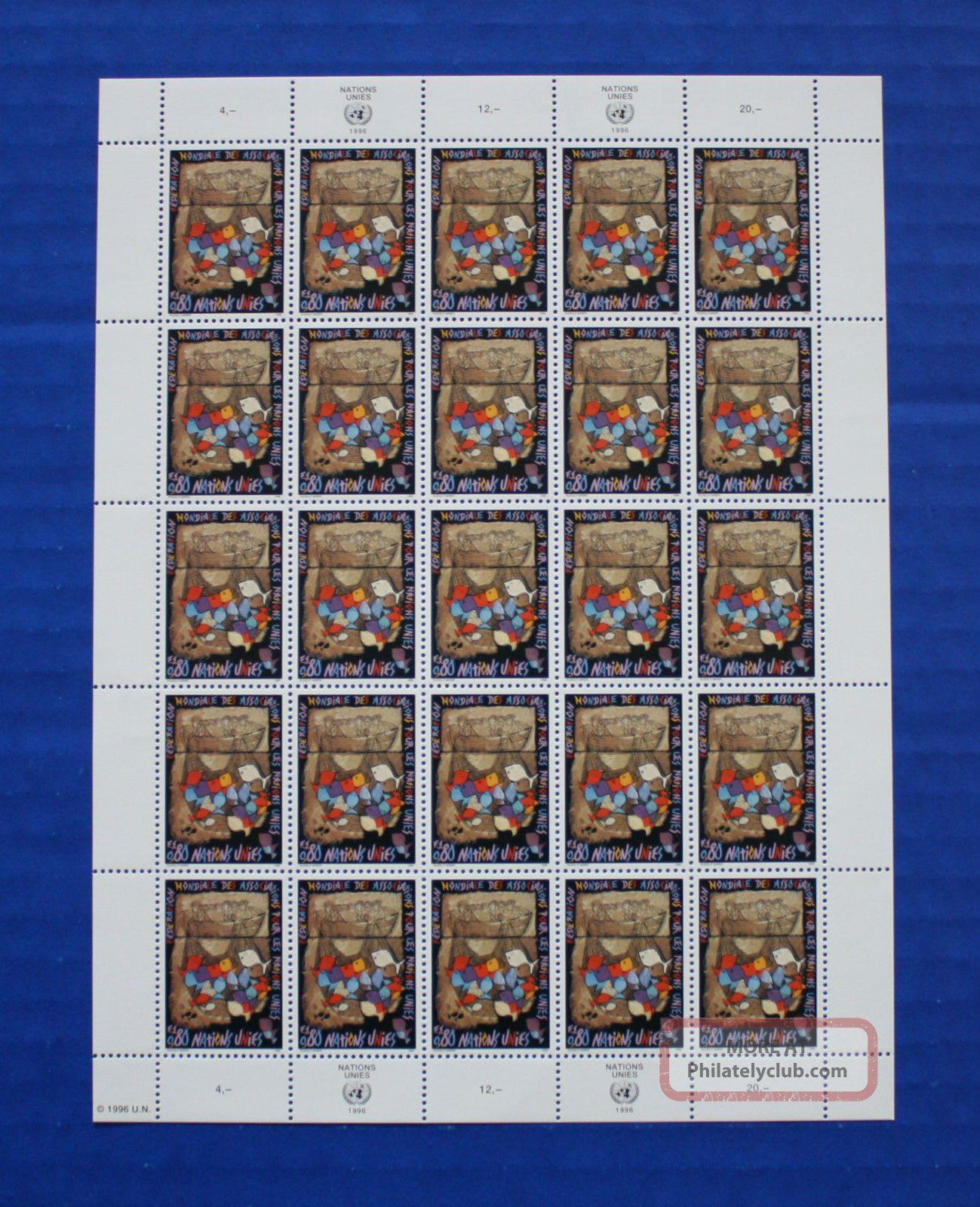 United Nations (g277) 1996 Wfuna 50th Anniversary Sheet Worldwide photo