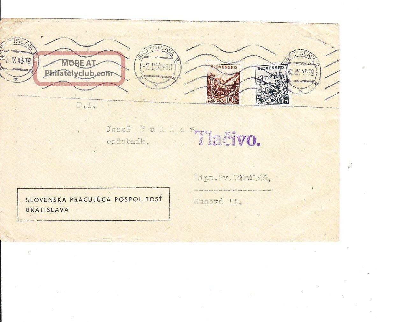 Slovakia 1943 Domestic Cover Vf Worldwide photo